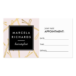 Chic Gold Bobby Pins Hairstylist Pink Appointment Double-Sided Standard Business Cards (Pack Of 100)