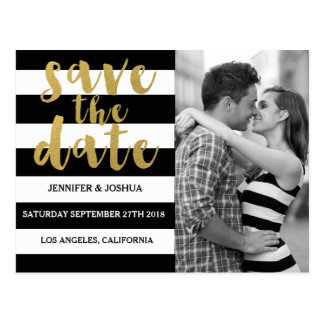 Chic Gold | Bold Black Stripe Photo Save the Date Postcard