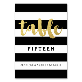 Chic Gold | Bold Black Stripe Table Numbers Card