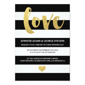 Chic Gold | Bold Black Stripe Wedding Invitation
