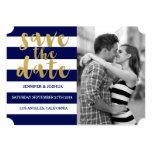 Chic Gold   Bold Blue Stripe Photo Save the Date 5x7 Paper Invitation Card