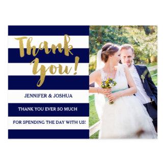 Chic Gold | Bold Blue Stripe Photo Thank You Postcard