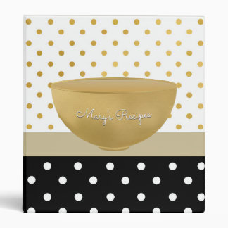 Chic Gold Bowl Mixing Bowl Recipes With Polka Dots 3 Ring Binder