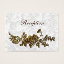 Chic Gold Brown Vintage Floral Wedding Business Card