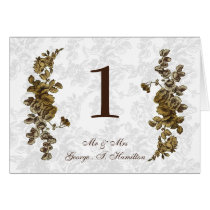 Chic Gold Brown Vintage Floral Wedding Card