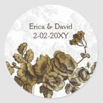 Chic Gold Brown Vintage Floral Wedding Classic Round Sticker