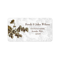 Chic Gold Brown Vintage Floral Wedding Label