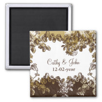 Chic Gold Brown Vintage Floral Wedding Magnet