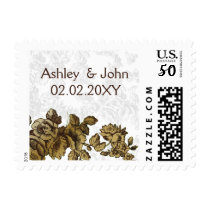 Chic Gold Brown Vintage Floral Wedding Postage
