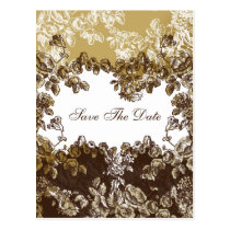 Chic Gold Brown Vintage Floral Wedding Postcard