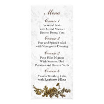 Chic Gold Brown Vintage Floral Wedding Rack Card