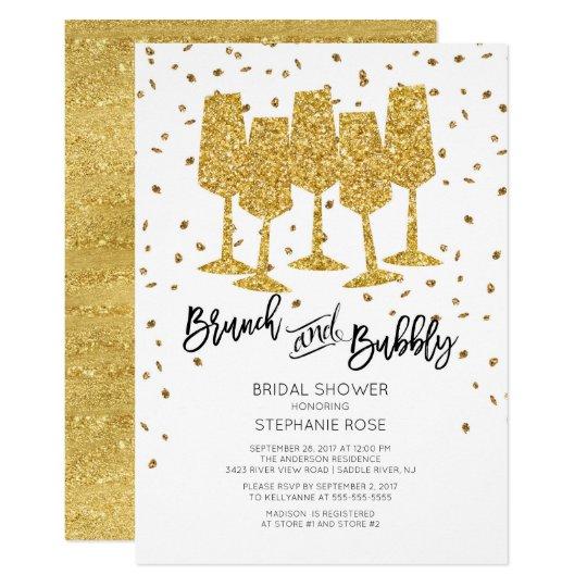 Chic Gold Brunch & Bubbly Bridal Shower Invitation
