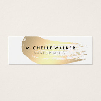 Chic Gold Brush Stroke Mini Business Card