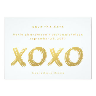 Chic Gold Brush Stroke | XOXO Photo Save the Date 5x7 Paper Invitation Card