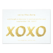 Chic Gold Brush Stroke | XOXO Simple Save the Date Card