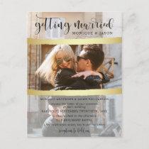 Chic Gold Brush Strokes & Photo Wedding Invitation