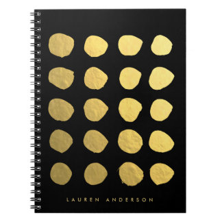 Chic Gold Brushstrokes Dots Notebook Journal