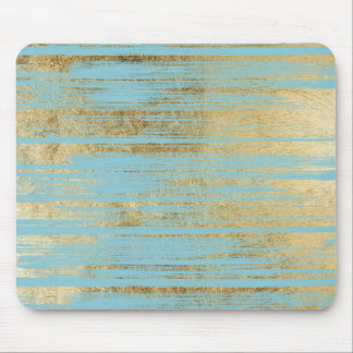 Chic Gold Brushstrokes on Island Paradise Blue Mouse Pad