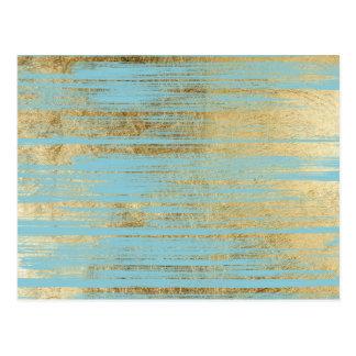 Chic Gold Brushstrokes on Island Paradise Blue Postcard