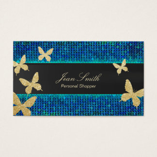 Chic Gold Butterflies Teal & Blue Personal Shopper Business Card
