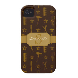 Chic Gold & Coco Brown Custom iPhone 4 Case