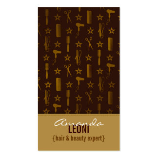 Chic Gold & Coco Brown Salon Tools Vertical Business Card