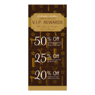 Chic Gold & Coco Custom Salon Coupons Specials Full Color Rack Card