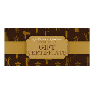Chic Gold & Coco Hair and Beauty Gift Certificate Rack Card Design
