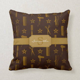 Chic Gold & Coco Hair Tools Custom Monogram Pillow