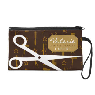 Chic Gold & Coco with White Hair Shears Custom Wristlet Purse