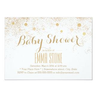 Chic Gold Confetti Dots Baby Shower Invitations