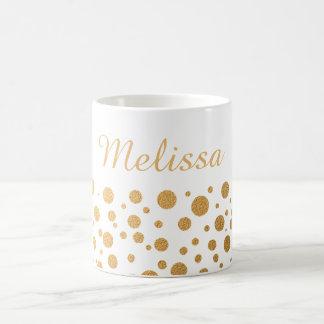 Chic Gold Confetti Dots Custom Name Coffee Mug