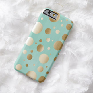 Chic Gold Confetti Dots Mint Blue iPhone 6 Case