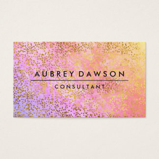 Chic Gold Confetti Pink Purple Blend Business Card