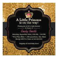 Chic Gold Crown Little Princess Baby Shower Custom Invites