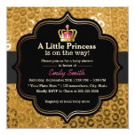 Chic Gold Crown Little Princess Baby Shower 5.25x5.25 Square Paper Invitation Card