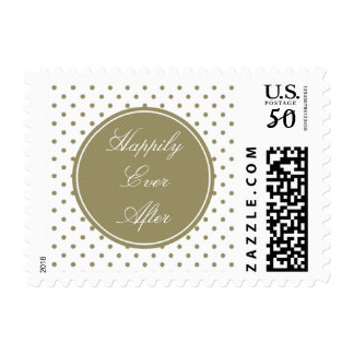Chic Gold Dots Happily Ever After Postage
