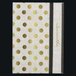 """Chic Gold Dots Linen Look iPad Air Case<br><div class=""""desc"""">Elegant and stylish this iPad folio style case is done in a chic linen look,  with gold tone polka dots.  Personalize the golden brown text running down the front right edge,  for yourself or as a beautiful gift idea.</div>"""