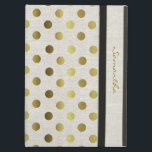 "Chic Gold Dots Linen Look iPad Air Case<br><div class=""desc"">Elegant and stylish this iPad folio style case is done in a chic linen look,  with gold tone polka dots.  Personalize the golden brown text running down the front right edge,  for yourself or as a beautiful gift idea.</div>"