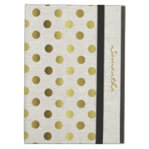 Chic Gold Dots Linen Look iPad Air Case