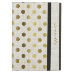 Chic Gold Dots Linen Look Ipad Air Case at Zazzle
