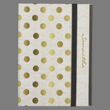 Chic Gold Dots Linen Look iPad Air Case