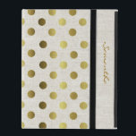 """Chic Gold Dots Linen Look iPad Case<br><div class=""""desc"""">Elegant and stylish this iPad folio style case is done in a chic linen look,  with gold tone polka dots.  Personalize the golden brown text running down the front right edge,  for yourself or as a beautiful gift idea.</div>"""