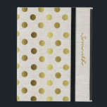 "Chic Gold Dots Linen Look iPad Case<br><div class=""desc"">Elegant and stylish this iPad folio style case is done in a chic linen look,  with gold tone polka dots.  Personalize the golden brown text running down the front right edge,  for yourself or as a beautiful gift idea.</div>"