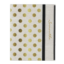 Chic Gold Dots Linen Look iPad Case