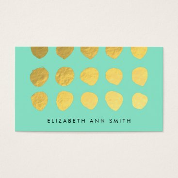 Professional Business Chic Gold Dots Mint Business Professional Card