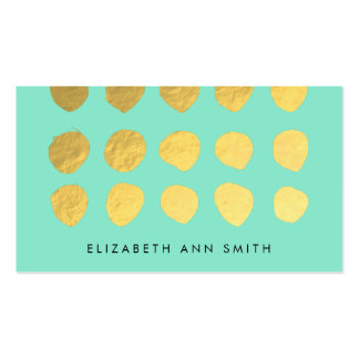 Chic Gold Dots Mint Business Professional Card Business Card