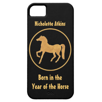 Chic Gold-effect Horse on Black Background iPhone SE/5/5s Case