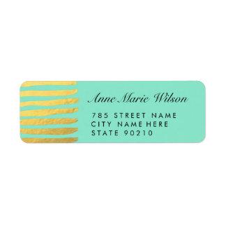 Chic Gold Effect Lines Return Address Labels