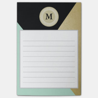 Chic Gold Effect Monogram Post It Notes